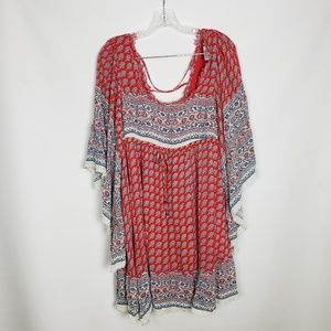 Free People Boho Festival Bell Sleeve Mini Dress S
